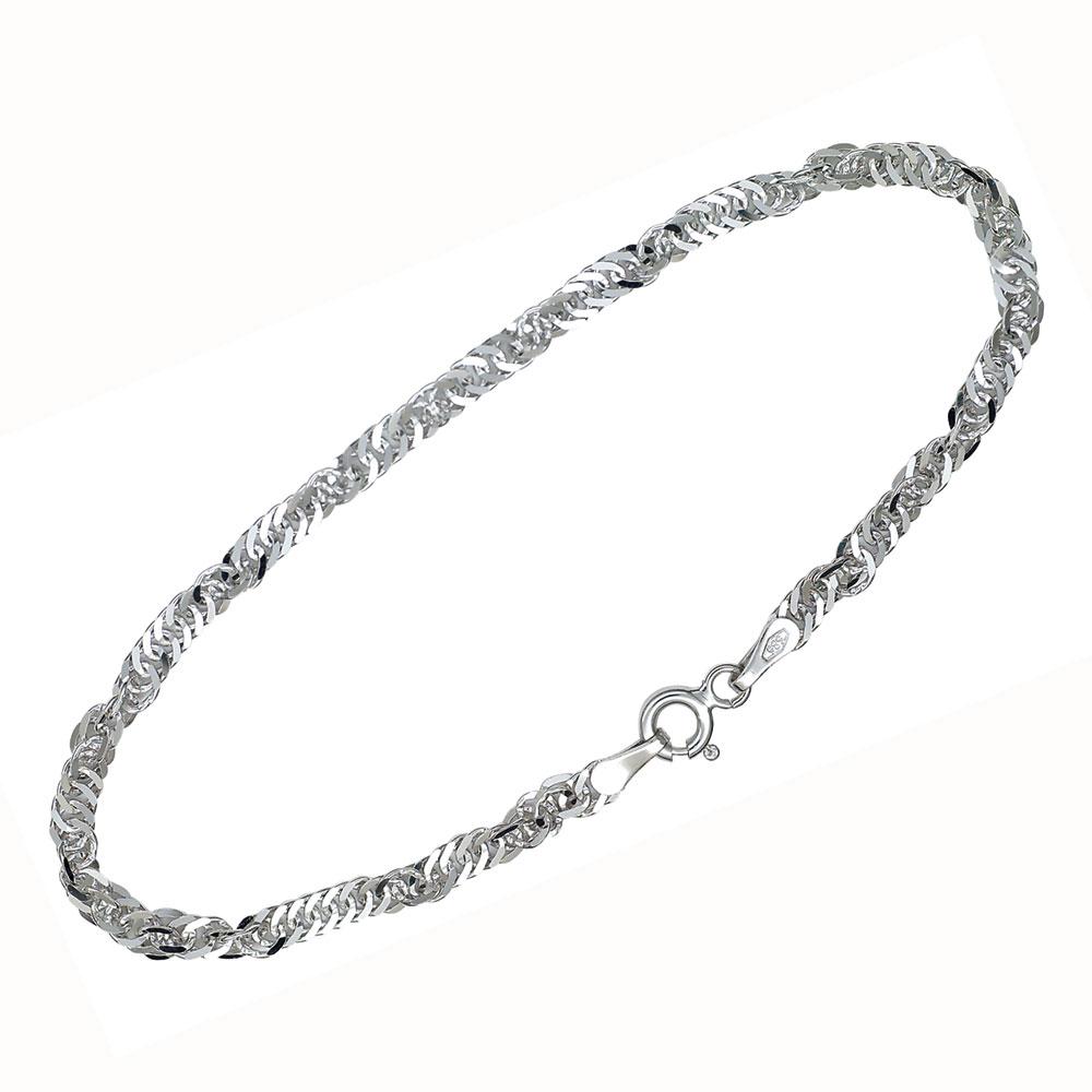 Fotlenke sølv 24+2cm tynn Singapore