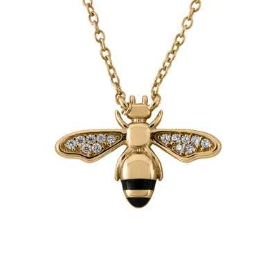 """Smykke forg.sølv """"Redd en bie"""" med zirconer+sort"""