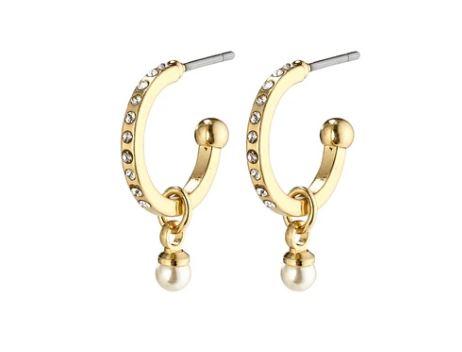 """Øreringer """"gull"""" 14ø med blanke cz, 3mm perle i heng"""