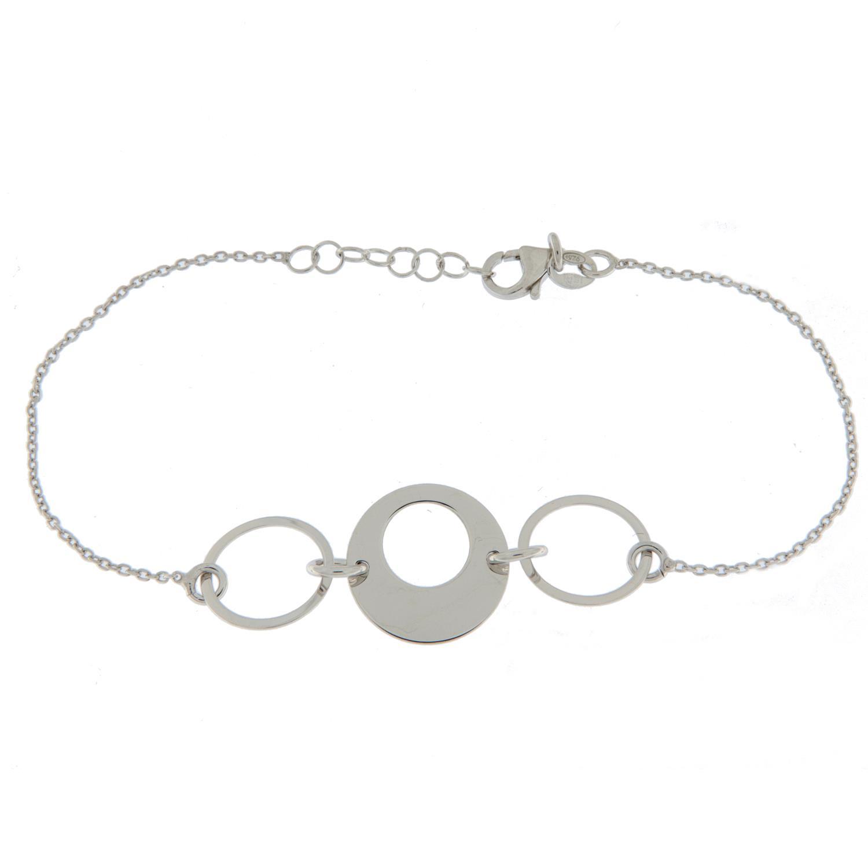 Armlenke rh.sølv 18+2cm tynn anker m/2 smale 1 bred flate ringer