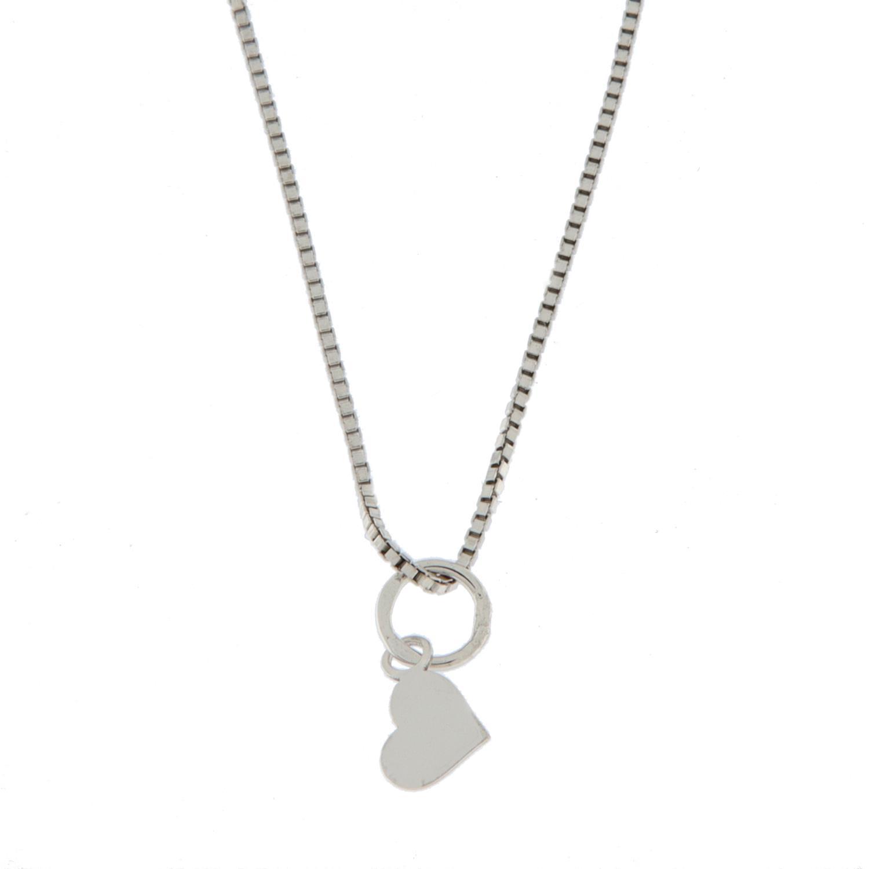 Smykke rh.sølv  42+3cm m/lite flatt hjerte