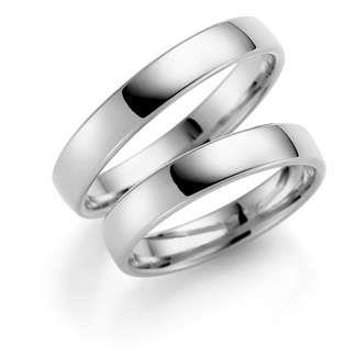 Forl.-/giftering sølv 4mm lett buet utvendig/ buet innvendig