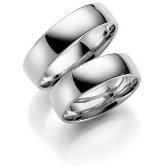 Forl.-/giftering sølv 7mm lett buet utvendig/ buet innvendig