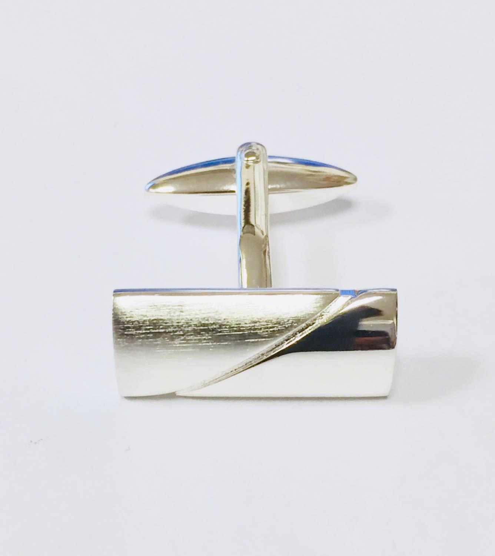 Mansjettknapper sølv rekt. 1/2 matt/blank