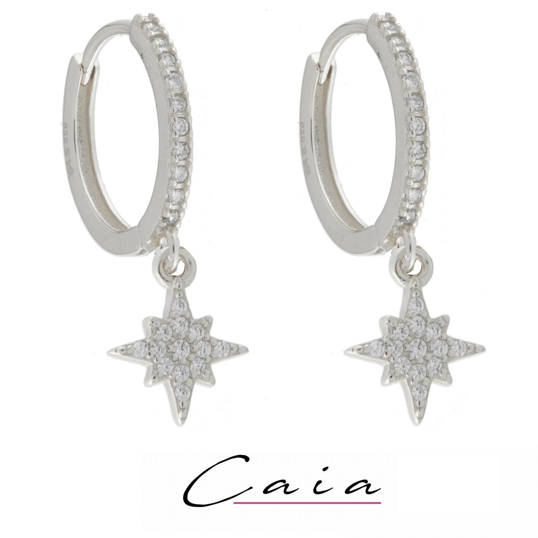 Øreringer rh.sølv Caia 15mm m/stener foran+stjerne i heng