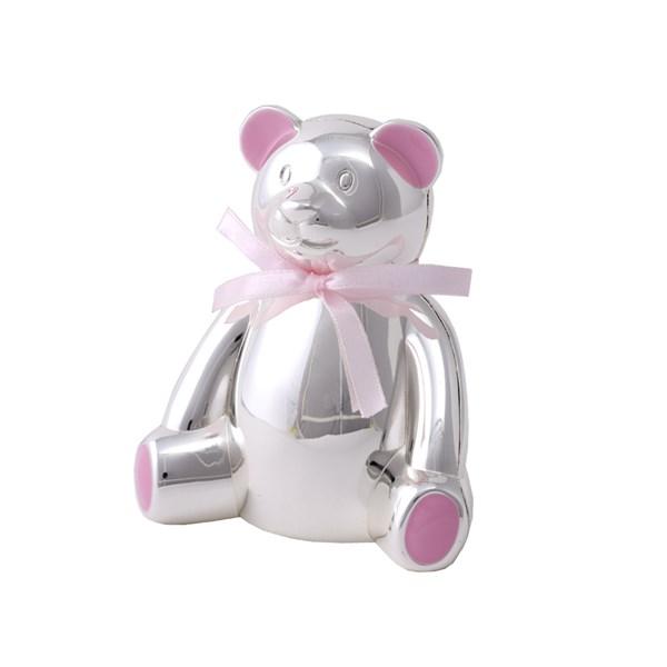 Sparebøsse bamse plett rosa m/skjerf