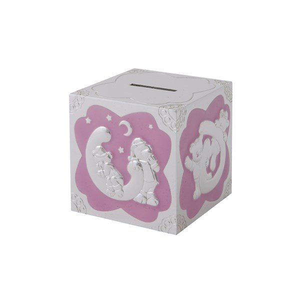 Sparebøsse kube rosa emalje bamsemotiv på hver side