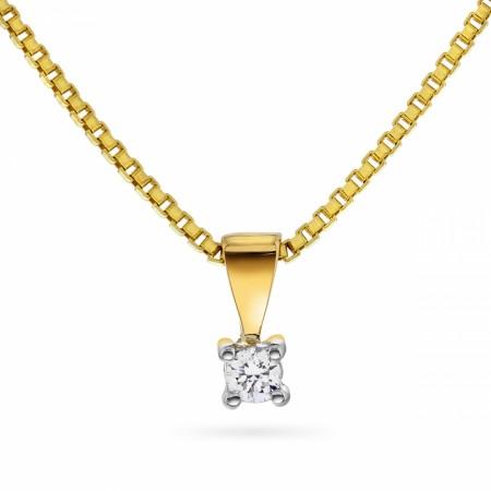 Anheng gull 0,05ct WP Min første diamant + 925 fg.kjede