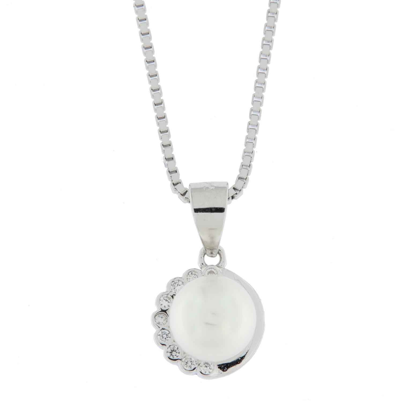 Anheng rh.sølv m/zirconer+ ferskv.perle