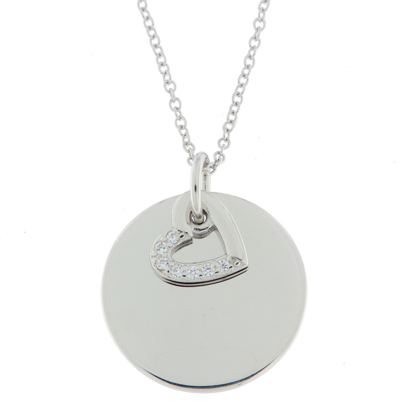 Collier rh.sølv m/glatt plate 15mm + åpent hjerte m/stener