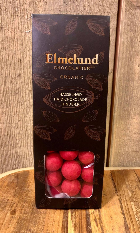 Økologisk sjokolade hvit hasselnøtt bringebær