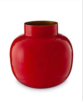 Vase metal round red 25 cm håndlaget