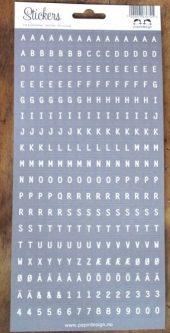 Papirdesign: Bokstavklistremerker - Grå