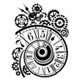 "Stamperia Stencil 7.87""X9.84"" - Clock & Mechanisms"