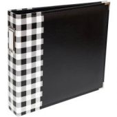 "We R Designer Faux Leather D-Ring Album 12""X12"" - Buffalo Check Black"