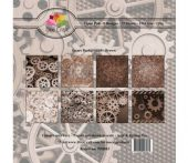 Dixi Craft -6x6 Inch - Paper Pack  - Gears Background -  Brown