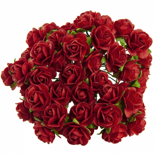 RED MULBERRY PAPER OPEN ROSES