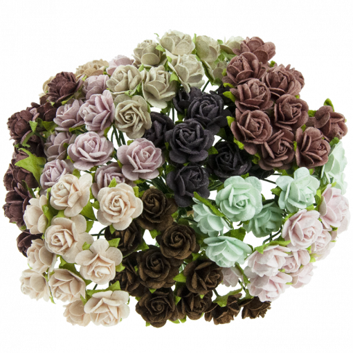 MIXED VINTAGE MULBERRY PAPER OPEN ROSES