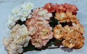 Wild Orchid Crafts Mulberry Paper Flowers- Apple blossoms - Peach / Orange