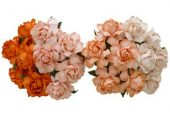 20 MIXED PEACH/ORANGE MULBERRY PAPER COTTAGE ROSES 30 mm