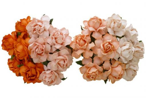 20 MIXED PEACH/ORANGE MULBERRY PAPER COTTAGE ROSES 25 mm