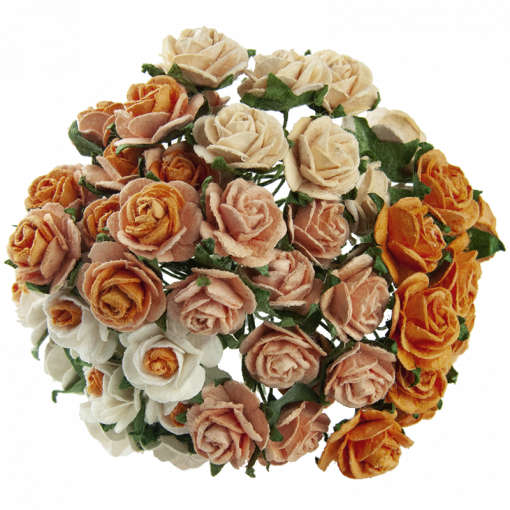 MIXED PEACH/ORANGE MULBERRY PAPER OPEN ROSES