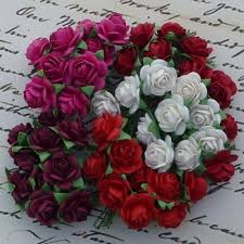 10 mm Mulberry Open Roses - 100 Mixed Red Tone White/Fuscia Pink