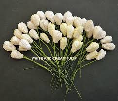 40  Ivory MULBERRY PAPER TULIP FLOWERS