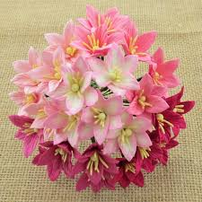 40 MIXED PINK MIX MULBERRY PAPER LILY FLOWERS