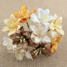 50 MIXED BROWN YELLOW MULBERRY PAPER LILY FLOWERS