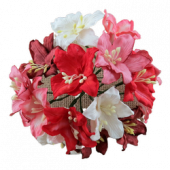 50 MIXED PINK AND WHITE TONE MULBERRY PAPER LILY FLOWERS