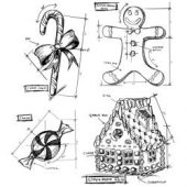 "Christmas Blueprints #3 - Tim Holtz Cling Stamps 7""X8.5"""
