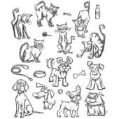 "Mini Cats & Dogs - Tim Holtz Cling Stamps 7""X8.5"""