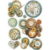 Gear Wheels & Clock - Stamperia Rice Paper Sheet A4