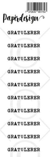 PAPIRDESIGN - TRANSPARENTE KLISTREMERKER - GRATULERER 1
