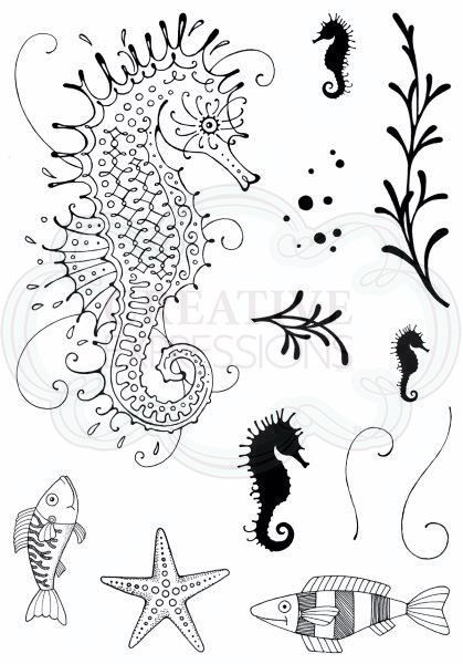 stamp seahorse- A6 clear