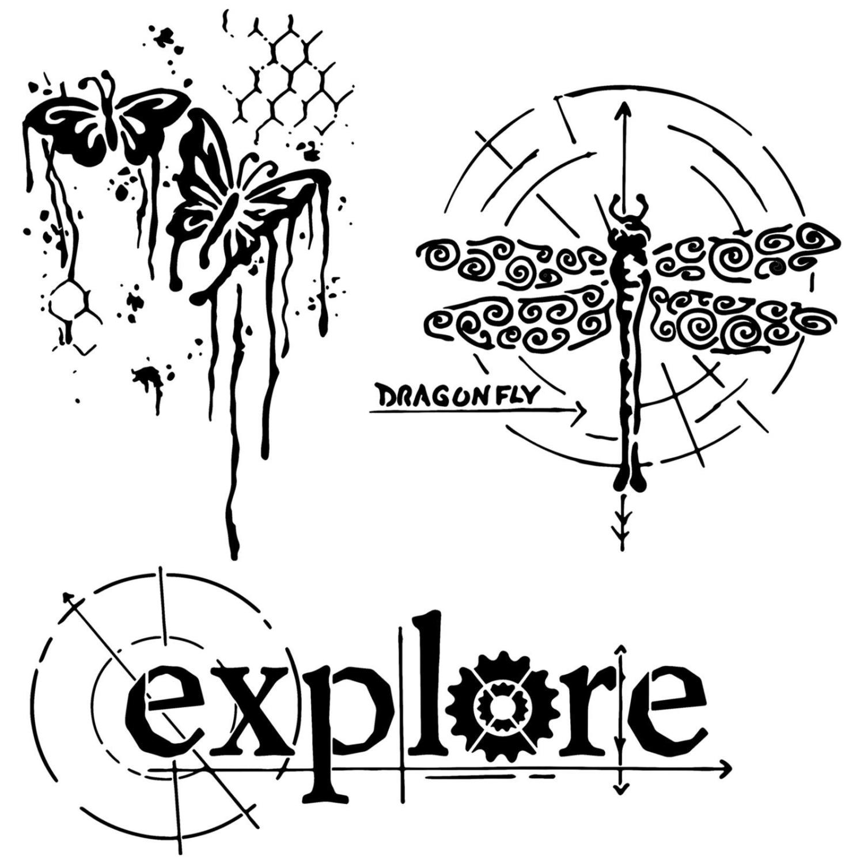 winged exploration - stencil