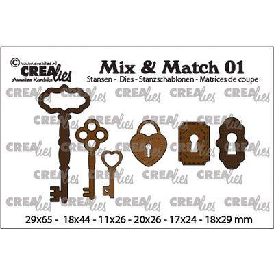 Crealies • Mix & Match nr.01 - Hengelås -nøkkel