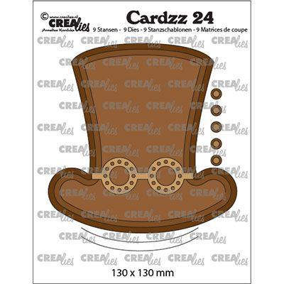 Crealies • Cardzz  no.24 steampunk hatt + brille