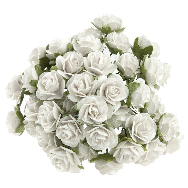 WHITE MULBERRY PAPER OPEN ROSES 15 mm