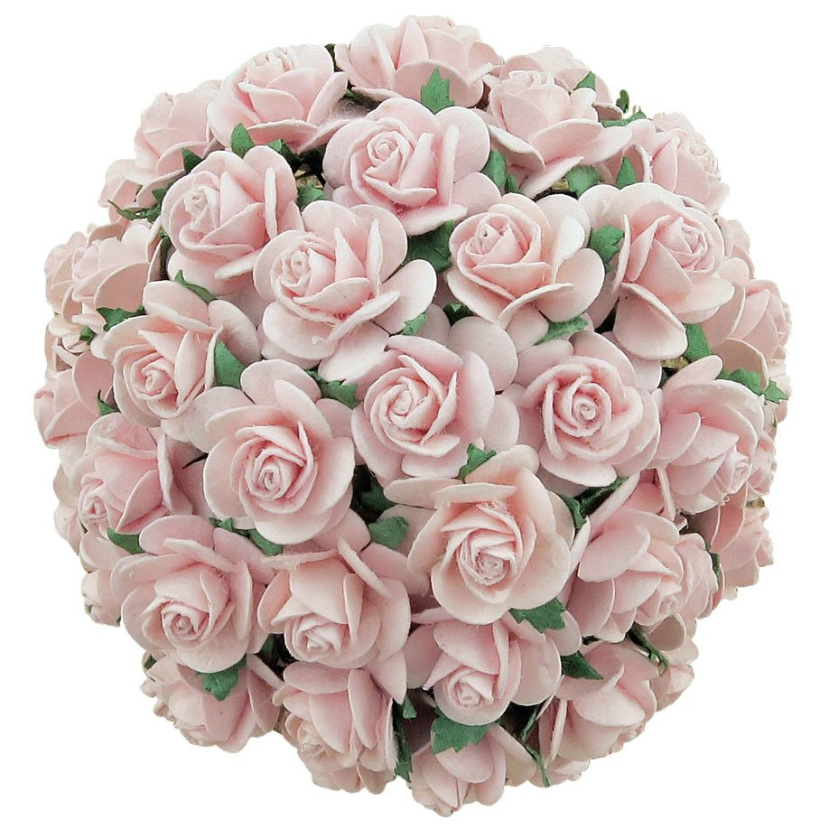 PALE PINK MULBERRY PAPER OPEN ROSES 25 mm