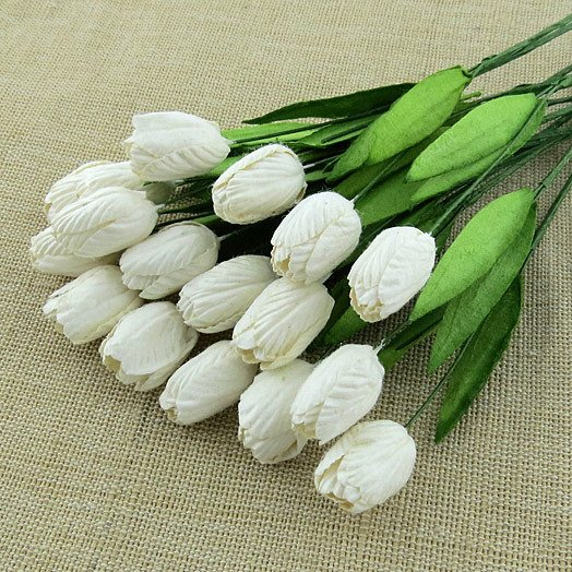 WHITE MULBERRY PAPER TULIP FLOWERS WITH LEAF STEMS