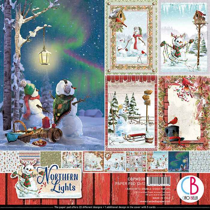 "NORTHERN LIGHTS DOUBLE-SIDED PAPER PAD 12""X12"" 12/PKG - Ciao Bella"