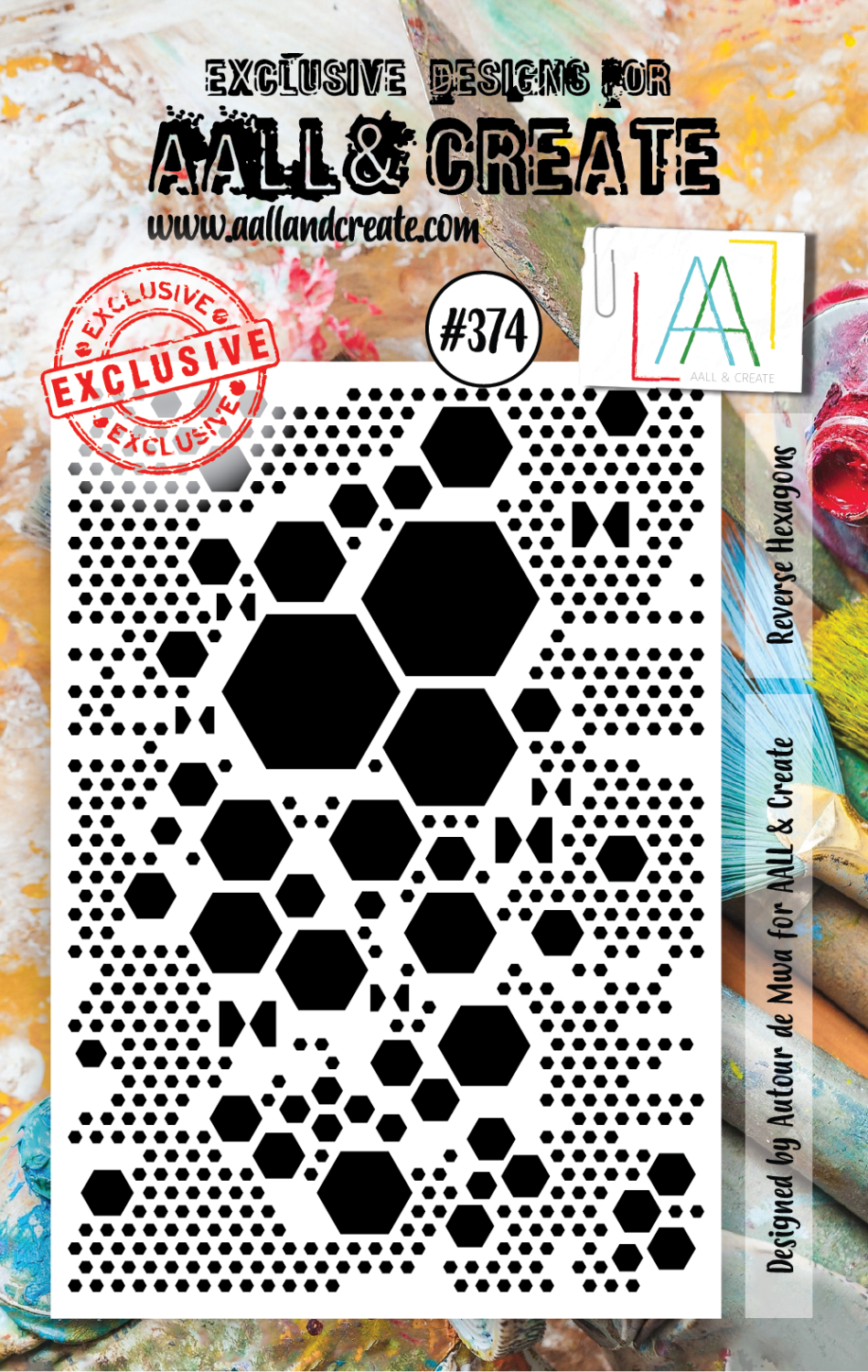 AAll&Create - Reverse Hexagons - #374- A7 STAMP -