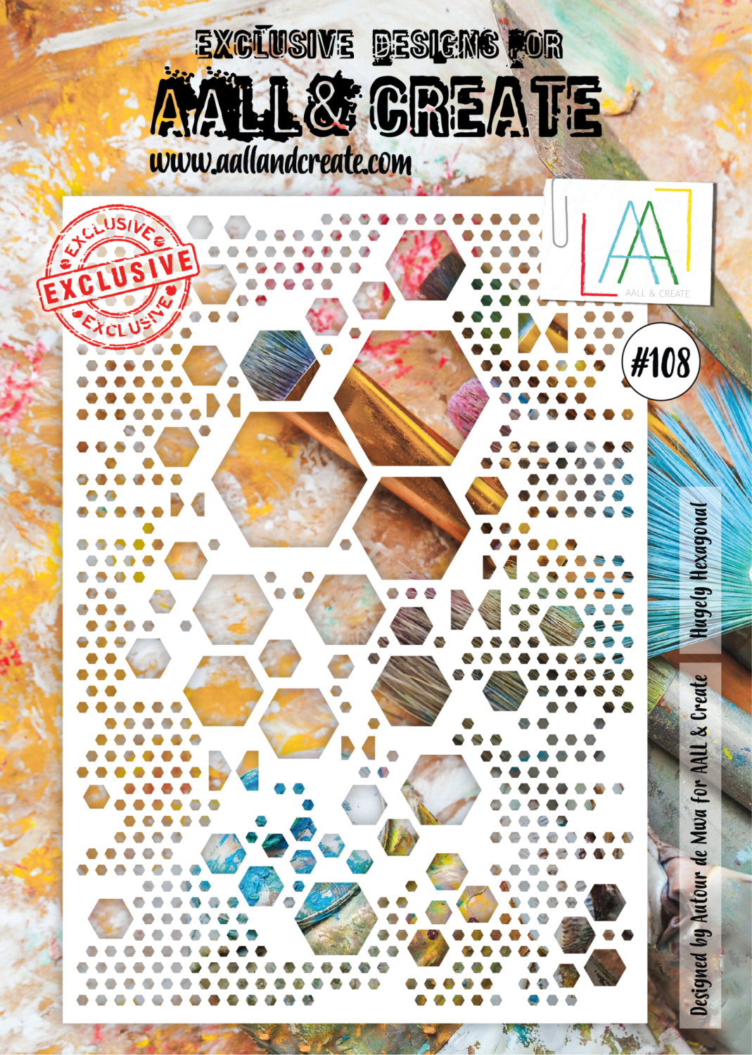 AAll&Create  #99 - A4 STENCIL - Hugely Hexagonal