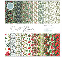 Craft Consortium Essential Craft Papers 12x12 Inch Paper Pad Festive Flor