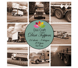 Dixi Craft - Trucks Brown -  9x9 cm Toppers