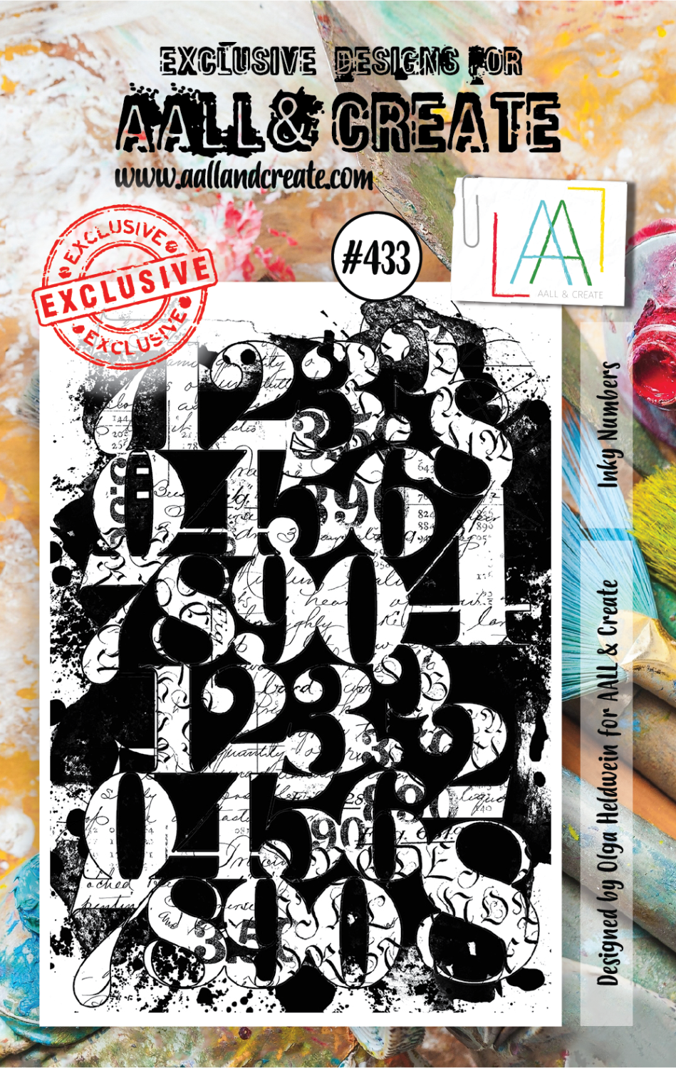 AAll&Create - Inky Numbers- #432- A7 STAMP -
