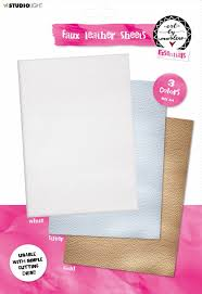 Studio Light • Faux leather sheets White & Gold & Silver 210x297mm 3 SH 01