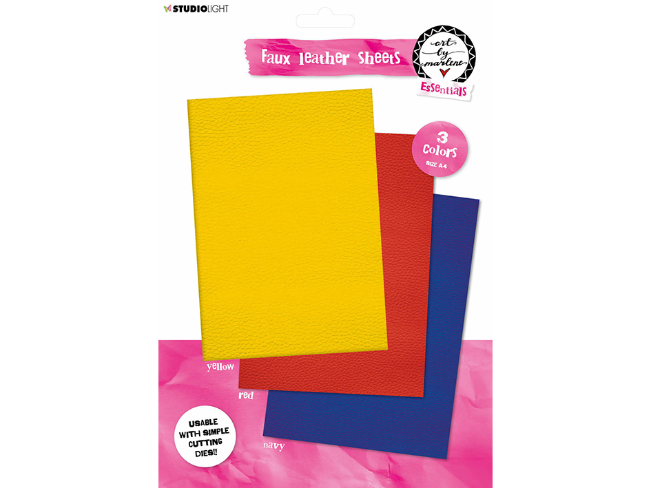 Studio Light • Faux leather sheets Yellow & Red & Blue 210x297mm 3 SH nr.02